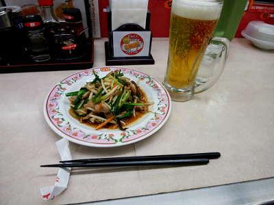 ニラ肉炒め+生中