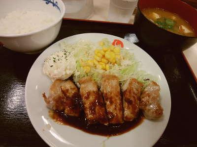 松屋:厚切り豚テキ定食ミニ+豚汁変更