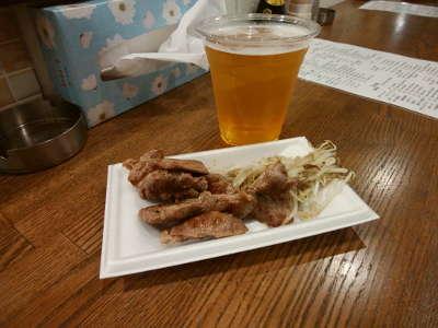 生ビールと鉄板焼き