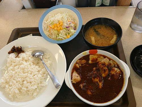松屋:ごろごろ煮込みチキンカレー野菜セット(並盛)
